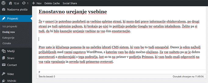 WordPress urejanje vsebine